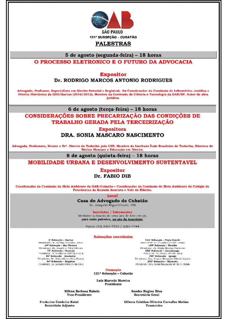Cartaz da Semana Jurídica de Cubatão
