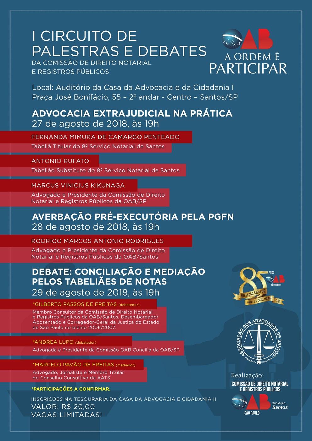 Cartaz do evento da Comissão de Direito Notarial e Registros Públicos da OAB/Santos
